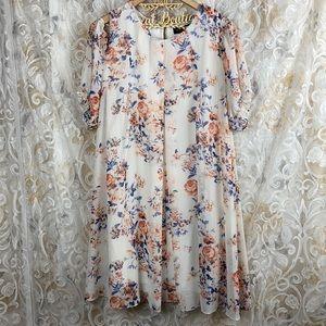 Perceptions New York Floral Cold Shoulder Dress